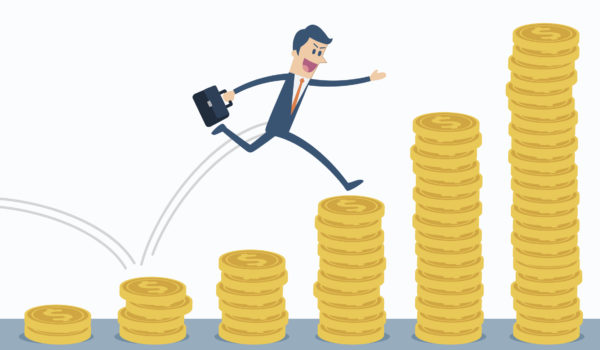 Businessman run and jump on money stairs.
